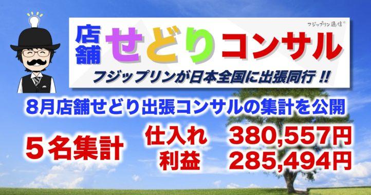 8月店舗せどり出張コンサルの集計を公開【5名集計は仕入れた金額380,557円、  利益285,494円】